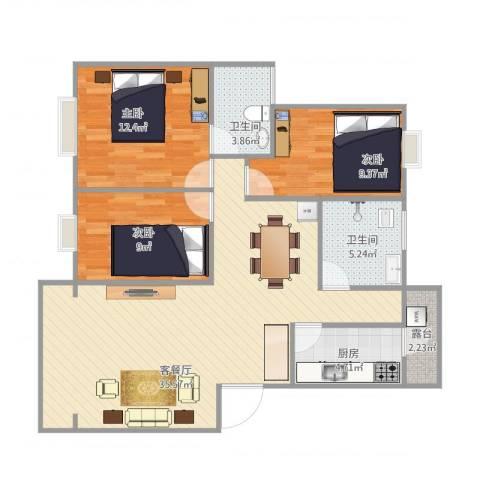 新华苑3室1厅2卫1厨111.00㎡户型图