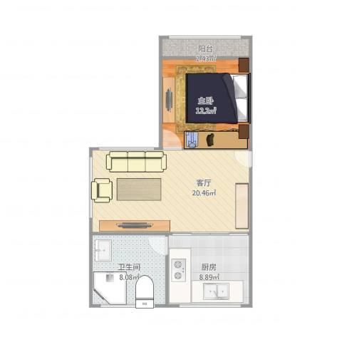 上钢二村1室1厅1卫1厨70.00㎡户型图