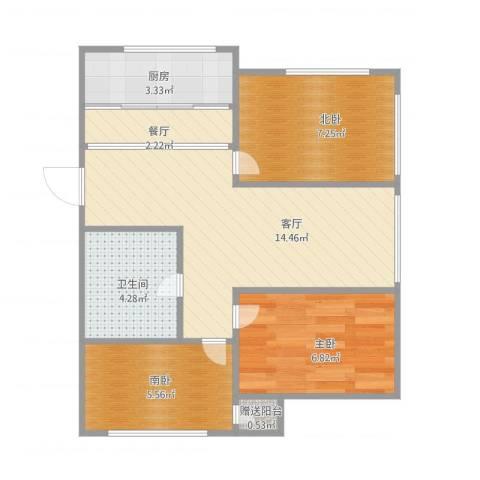 绿波花园27--1--5011室2厅1卫1厨62.00㎡户型图