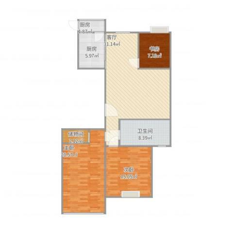高新花园二期3室1厅1卫2厨124.00㎡户型图