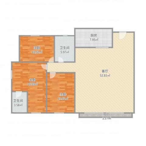 丽景花园3室1厅2卫1厨150.00㎡户型图