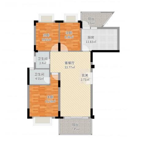 大信新家园3室1厅2卫1厨140.00㎡户型图