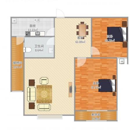 丽景华庭2室1厅1卫1厨195.00㎡户型图