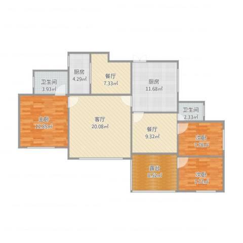 龙泉怡苑3室3厅2卫2厨130.00㎡户型图