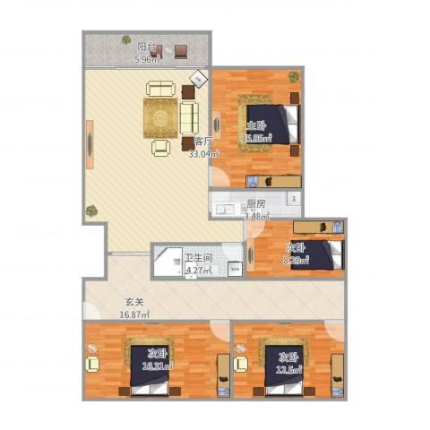 七里河小区4室1厅1卫1厨157.00㎡户型图