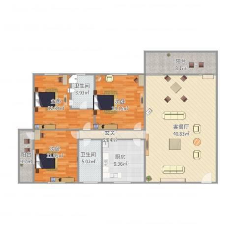 西苑小区3室1厅2卫1厨151.00㎡户型图