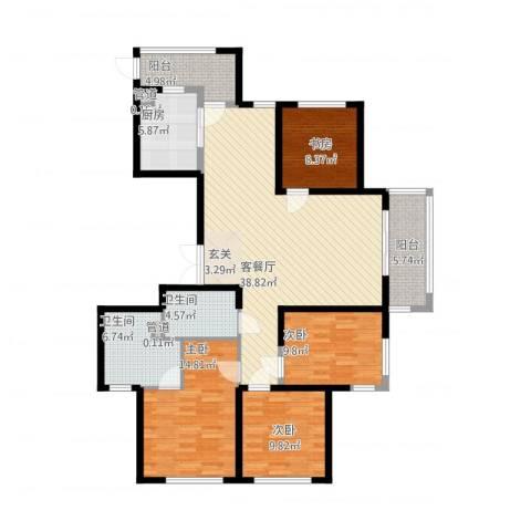 象山丹桂花园4室1厅2卫1厨158.00㎡户型图
