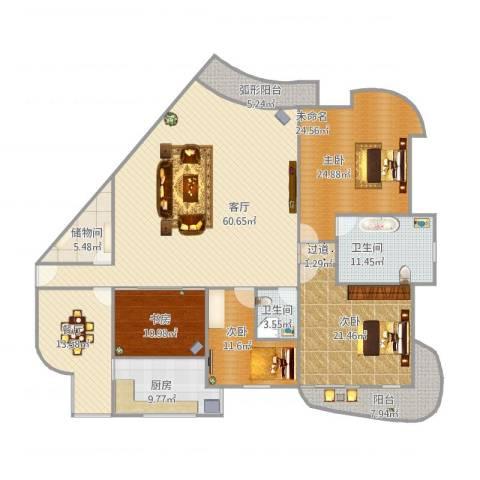 佳苑星河3室2厅2卫1厨250.00㎡户型图