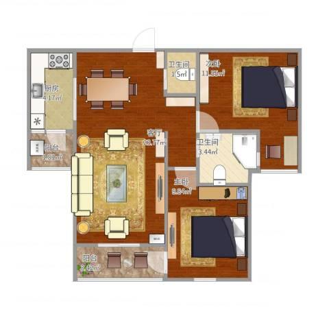 南郊新公馆2室1厅2卫1厨81.00㎡户型图