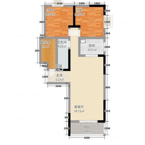 御景湾2室1厅1卫1厨109.00㎡户型图