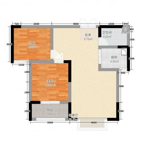 御景湾2室1厅1卫1厨85.00㎡户型图