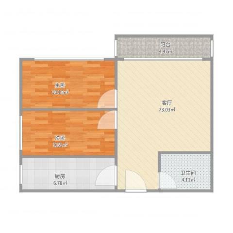 幸福东区2室1厅1卫1厨79.00㎡户型图