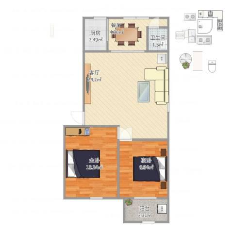 银安花园2室2厅1卫1厨80.00㎡户型图