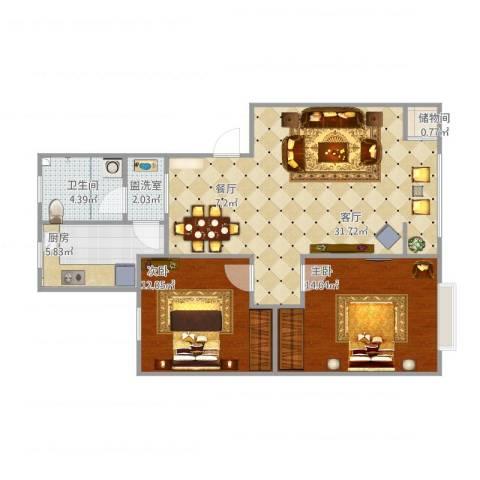 丽景国际2室2厅1卫1厨96.00㎡户型图