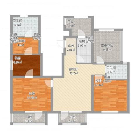 世茂・萨拉曼卡3室1厅2卫1厨139.00㎡户型图