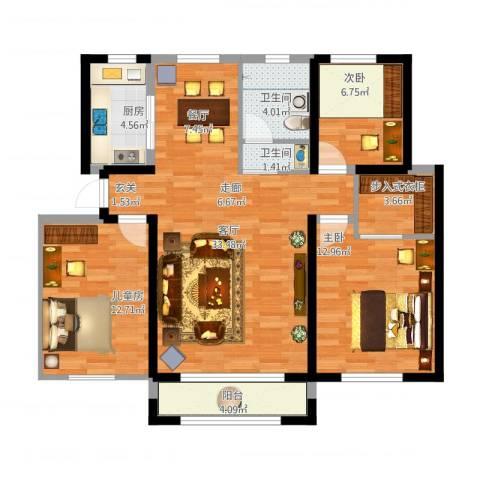 鸿玮澜山二期和院3室1厅2卫1厨120.00㎡户型图