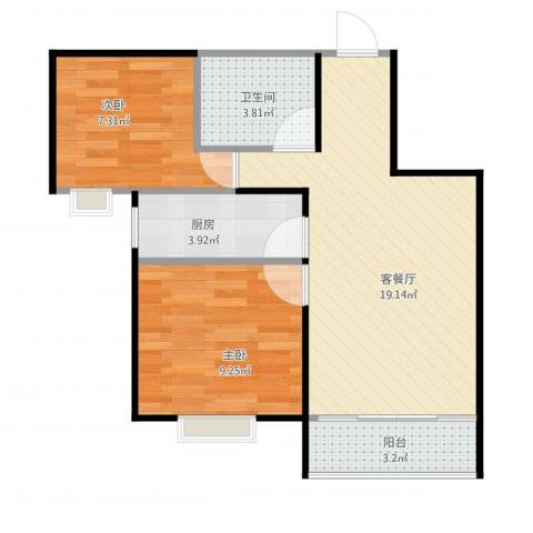 万科城多伦多街区2室1厅1卫1厨64.00㎡户型图