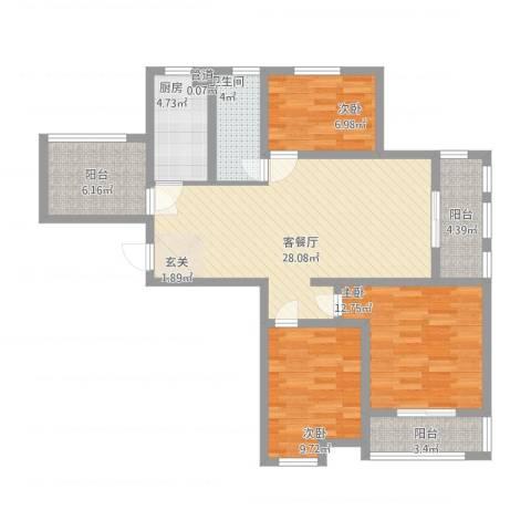 水岸观邸3室1厅1卫1厨118.00㎡户型图