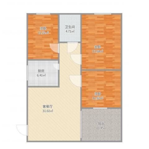 惠景城3室1厅1卫1厨125.00㎡户型图