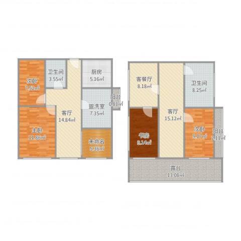 兰亭山水4室4厅2卫1厨166.00㎡户型图