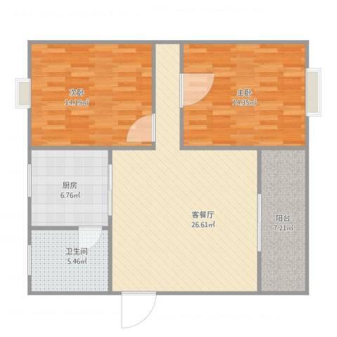 绿景华庭2室1厅1卫1厨100.00㎡户型图