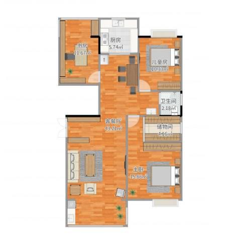 联泰棕榈庄园3室1厅1卫1厨125.00㎡户型图