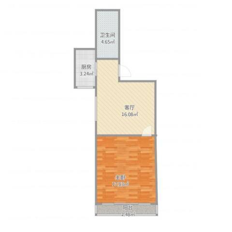 嘉城新航域48㎡一房1室1厅1卫1厨60.00㎡户型图