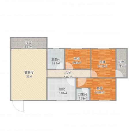 西苑小区25#4023室1厅2卫1厨138.00㎡户型图