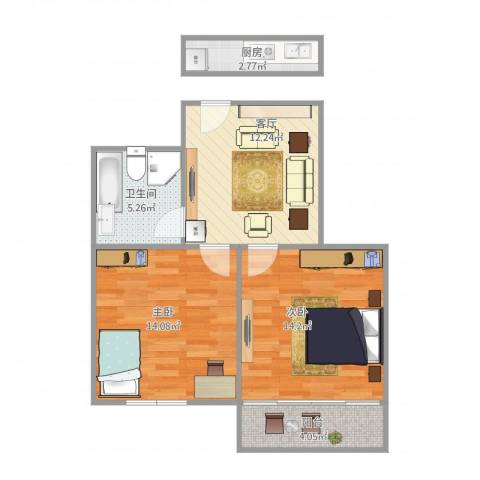 解放新村22室1厅1卫1厨71.00㎡户型图