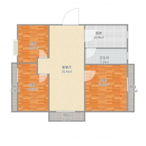 绿茵花园3室1厅1卫1厨148.00㎡户型图