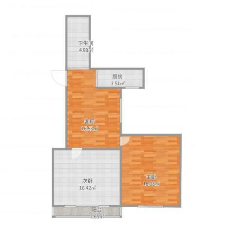 嘉城新航域67平米两房2室1厅1卫1厨84.00㎡户型图