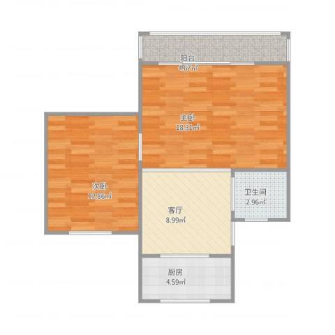 古桐公寓2室1厅1卫1厨71.00㎡户型图
