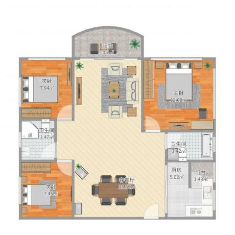 中信美景康城3室1厅2卫1厨88.36㎡户型图
