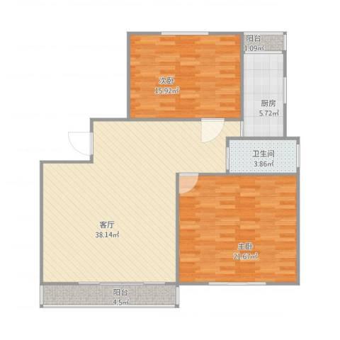 嘉城新航域97平电梯两房!2室1厅1卫1厨121.00㎡户型图