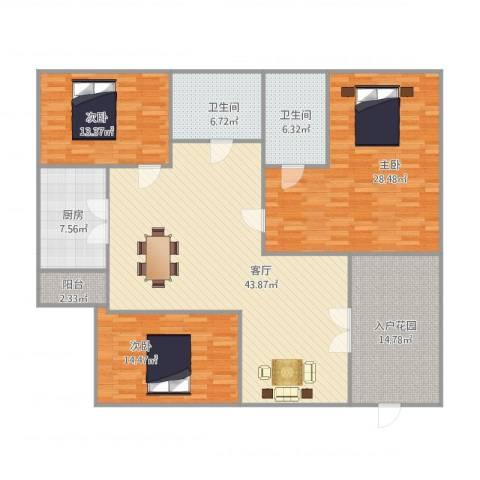 乐雅苑3室1厅2卫1厨183.00㎡户型图