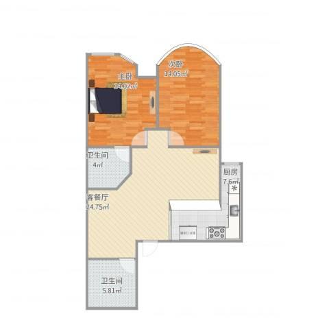 鹏润家园24102室1厅2卫1厨96.00㎡户型图
