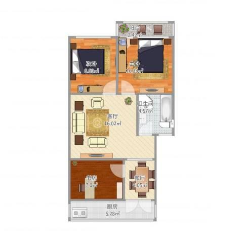 华洋新苑3室2厅1卫1厨80.00㎡户型图