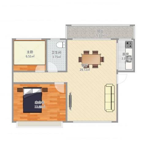 金广东海岸1室1厅2卫1厨83.00㎡户型图
