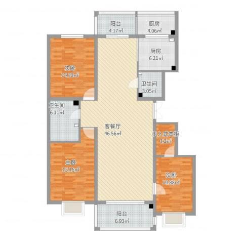 宜和园3室1厅2卫2厨171.00㎡户型图