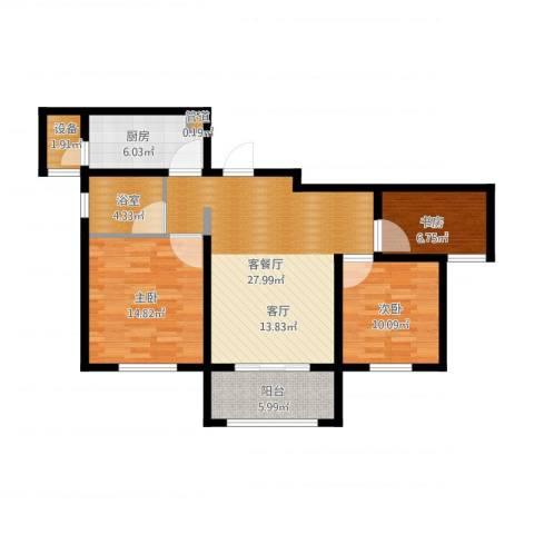 东方米兰国际城3室1厅3卫1厨113.00㎡户型图