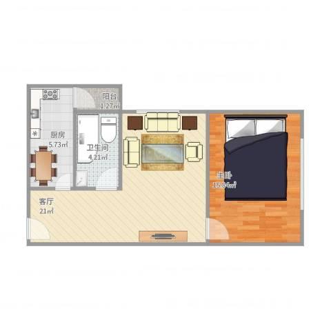 恒隆明珠1室1厅1卫1厨65.00㎡户型图