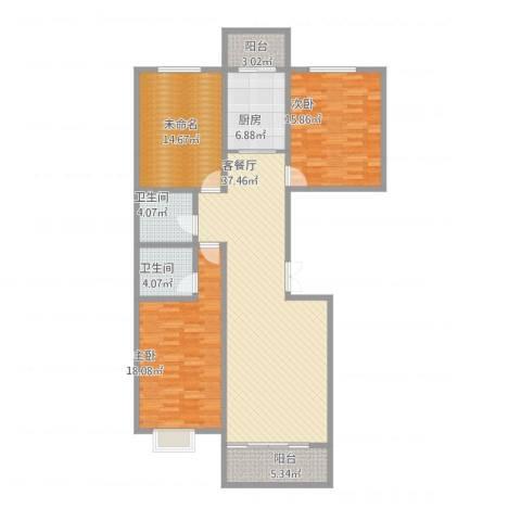 华地榆林苑2室1厅2卫1厨153.00㎡户型图