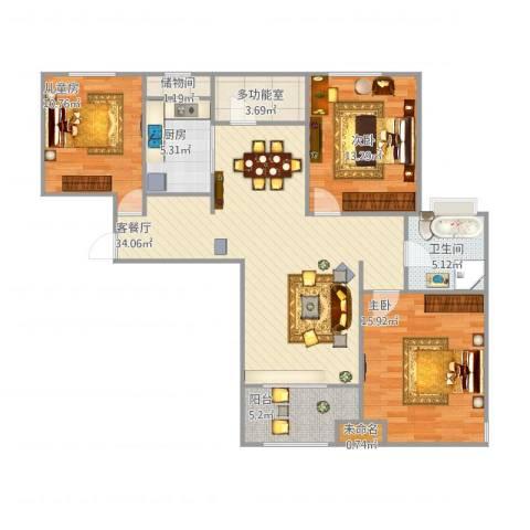 潮白河孔雀城剑桥郡3室1厅1卫1厨129.00㎡户型图