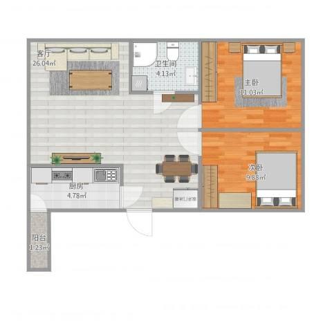 天福城2室1厅1卫1厨77.00㎡户型图
