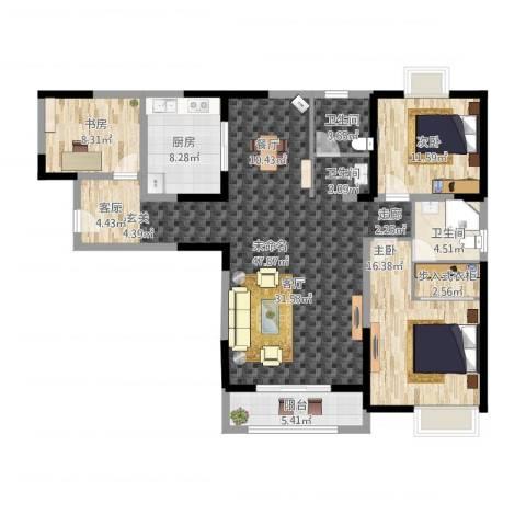 招商海德名门3室1厅2卫1厨160.00㎡户型图