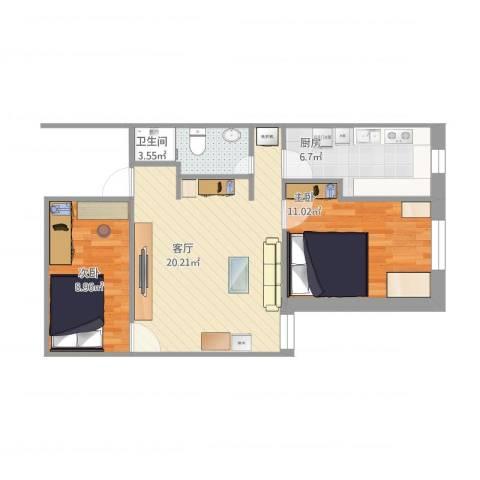 天缘公寓2室1厅1卫1厨70.00㎡户型图