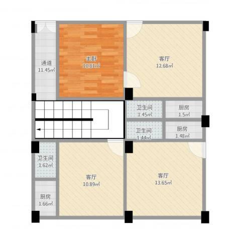 元邦明月园1室3厅3卫3厨96.00㎡户型图