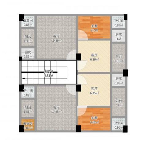 元邦明月园2室4厅4卫3厨99.00㎡户型图