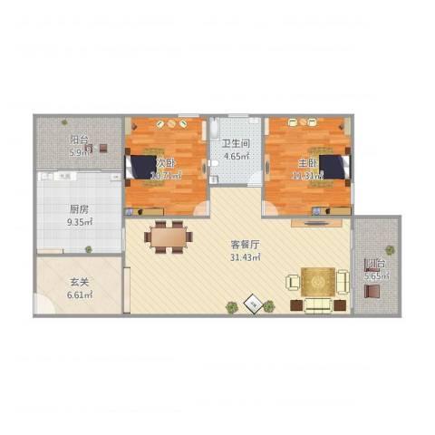 乐怡花园2室1厅1卫1厨115.00㎡户型图
