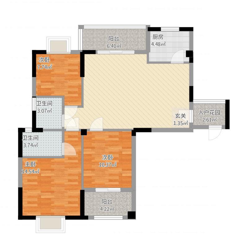 金富花园A1户型3房2厅2卫双阳台+入户花园面积122